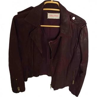 Leon & Harper Burgundy Leather Leather Jacket for Women