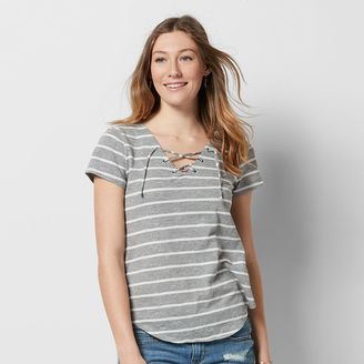 Women's SONOMA Goods for LifeTM Striped Lace-Up Tee $26 thestylecure.com