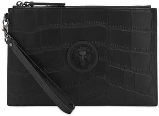 Versace Croc Embossed Leather Flat Pouch