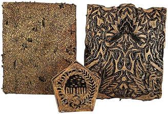 One Kings Lane Vintage Batik Stamp Blocks - Set of 3