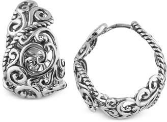 Carolyn Pollack Rope Swirl Hoop Earrings in Sterling Silver