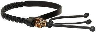 Alexander McQueen Black Braided Skull Bracelet $185 thestylecure.com