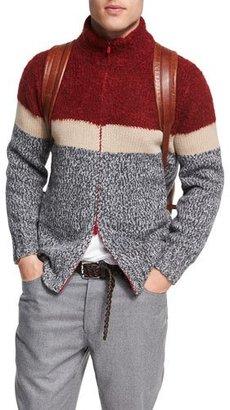 Brunello Cucinelli Striped Wool-Cashmere-Silk Zip-Front Cardigan $1,895 thestylecure.com