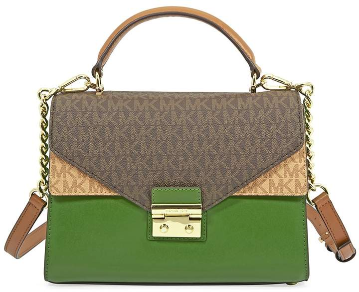 Michael Kors Sloan Medium Leather Satchel- Brown/Acorn/True Green - ONE COLOR - STYLE