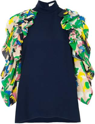 DELPOZO contrast sleeve blouse