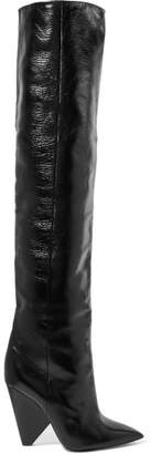 Saint Laurent Niki Glossed-leather Knee Boots - Black