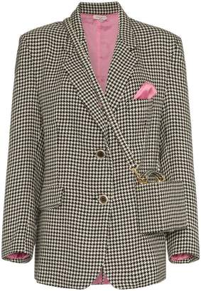 Natasha Zinko houndstooth print bag detailed blazer