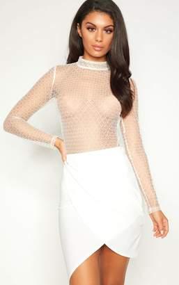 PrettyLittleThing White Sheer Metallic Flock Thong Bodysuit