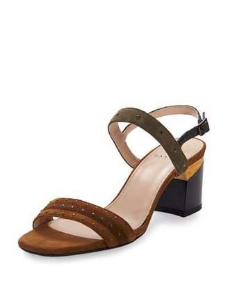Lanvin Studded Suede City Sandal, Camel $790 thestylecure.com