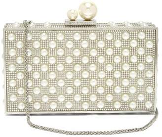 Sophia Webster Clara Pearl And Crystal Embellished Box Clutch - Womens - Silver Multi
