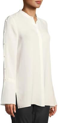 Lafayette 148 New York Plus Size Nicolette Silk Double Georgette Blouse