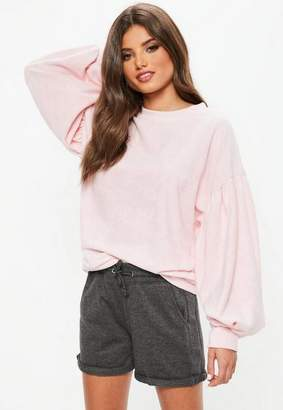 Missguided Pink Towelling Sweatshirt, Pink