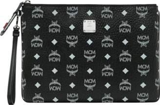 MCM Wristlet Zip Pouch In White Logo Visetos