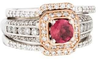 Ring 14K Two-Tone Pink Tourmaline & Diamond Set