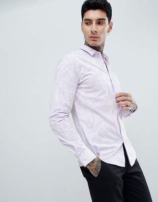 Twisted Tailor skinny long sleeve shirt in lilac flocking