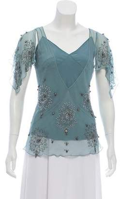 Christian Dior Embellished Silk Top