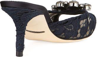 Dolce & Gabbana Keria Jeweled Lace Low-Heel Slide Sandals, Navy