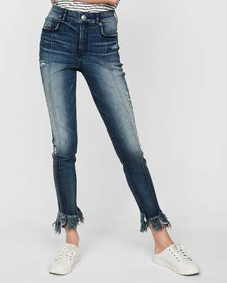 Express Super High Waisted Raw Hem Denim Perfect Stretch+ Ankle Leggings