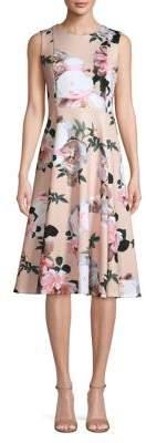 Calvin Klein Floral-Print Sleeveless Fit Flare Dress