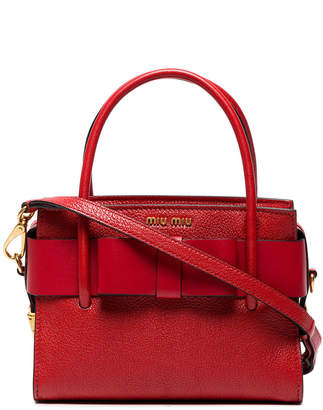 Miu Miu Red Madras Leather Tote Bag