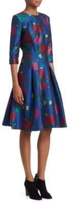 Carolina Herrera Three-Quarter Sleeve Flare Dress