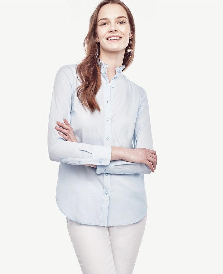 Ann TaylorRuffle Neck Perfect Shirt