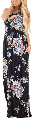Soficy Women Sleeveless Maxi Dress Vintage Floral Print Graceful Party Long Dress M
