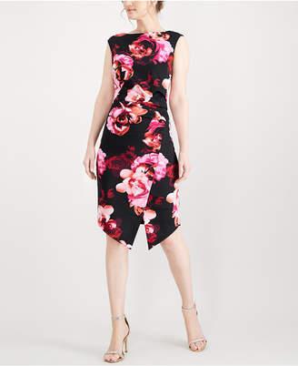 Sl Fashions Floral-Print Envelope Dress