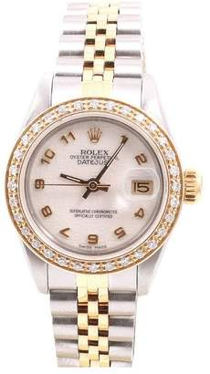 Rolex Datejust 18K Yellow Gold And Stainless Steel Cream Jubilee Arabic Dial & Diamond Bezel 26mm Womens Watch
