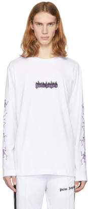 Palm Angels White Long Sleeve Dance of Death T-Shirt