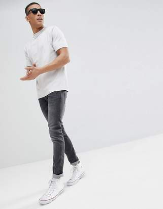 BEIGE Asos Design ASOS DESIGN relaxed t-shirt with deep trim in heavy weight jersey in