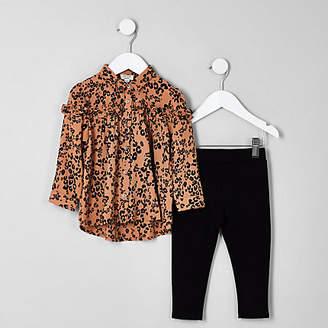 River Island Mini girls brown leopard shirt and leggings