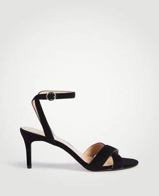 Ann Taylor Judith Suede Kitten Heeled Sandals