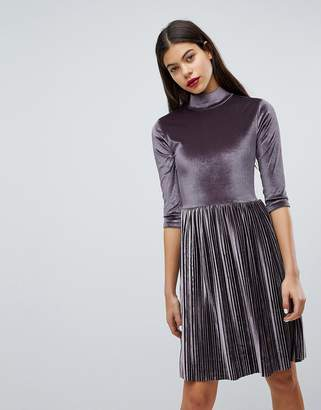 Club L Pleated High Neck Velvet Dress