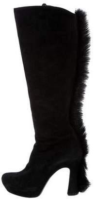 Saint Laurent Faux Fur Suede Boots