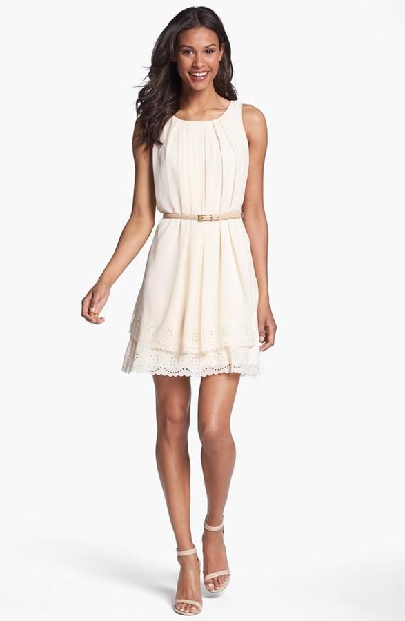 Jessica Simpson Tiered Eyelet Crepe de Chine Dress