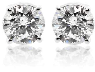 14K White Gold 1.45ct. Round Brilliant Cut Diamond Solitaire Stud Earrings