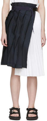 Sacai Navy and White Pinstripe Skirt