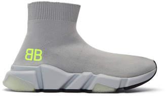 Balenciaga Grey BB Speed High-Top Sneakers