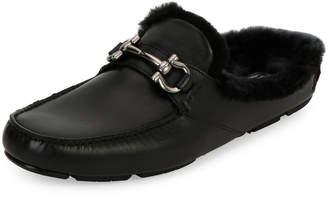 Salvatore Ferragamo Men's Leather Slipper with Shearling Fur Lining, Black