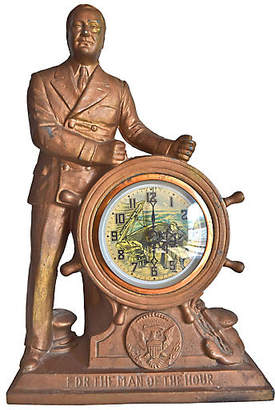 One Kings Lane Vintage FDR The Man of The Hour Mantel Clock - The Montecito Collection