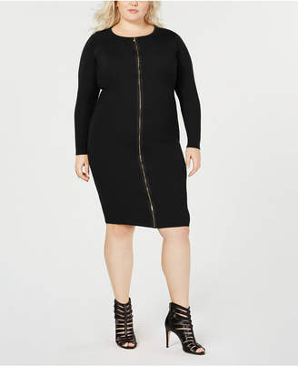 Say What Trendy Plus Size Zipper-Front Dress