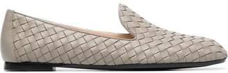 Bottega Veneta grey Fiandra woven leather loafers
