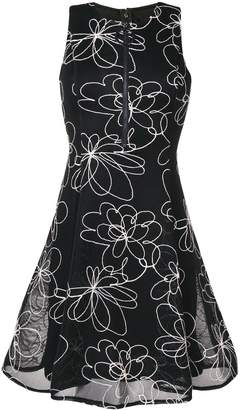DKNY flower detail flare dress