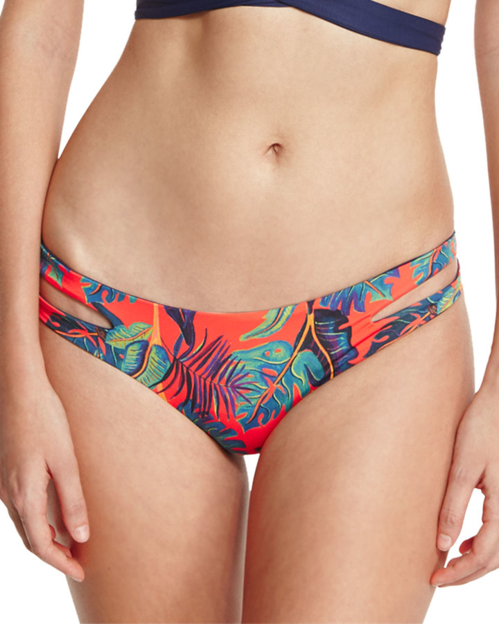 L Space Swimwear by Monica Wise Liberty Palm Estella Reversible Cutout-Side Swim Bottom, Persimmon 4