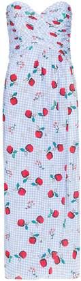 Rebecca De Ravenel apple print sweetheart-neck dress