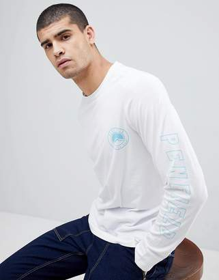 Penfield Aloka Sleeve Logo Print Long Sleeve Top in White