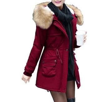 PENATE Women's Down Jackets PENATE Women's Slim Down Jacket Girls Winter Warm Plush Hooded Cotton Coat Parka