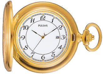 Pulsar Mens Gold-Tone Stainless Steel Pocket Watch PXD198