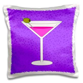 3dRose Bright Pink Martini in Glass with Olive - Purple Background - Pillow Case, 16 by 16-inch